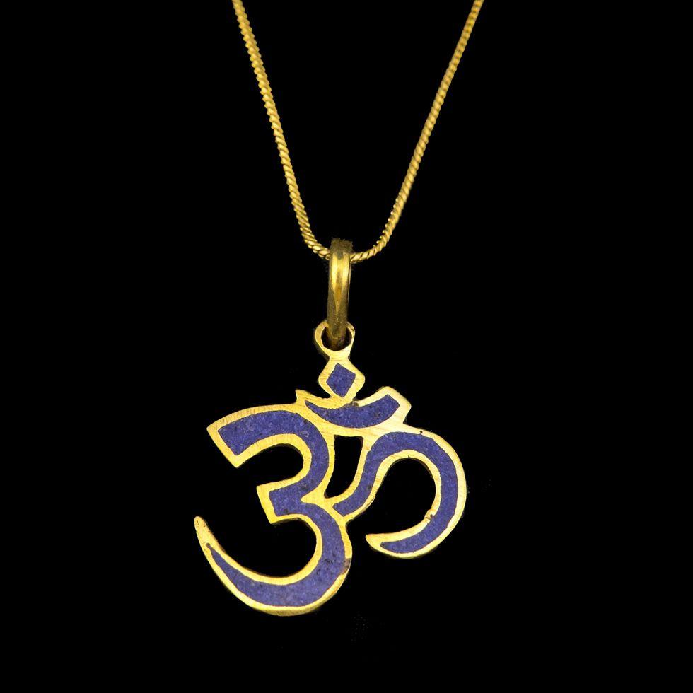 Brass pendant Om with Lapiz