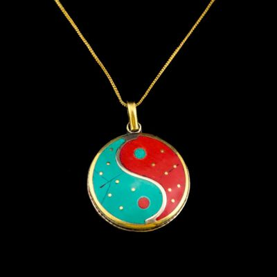 Brass pendant Yin&Yang red and turquoise | separate pendant, with a chain - circumference 45 cm, with a chain - circumference 55 cm