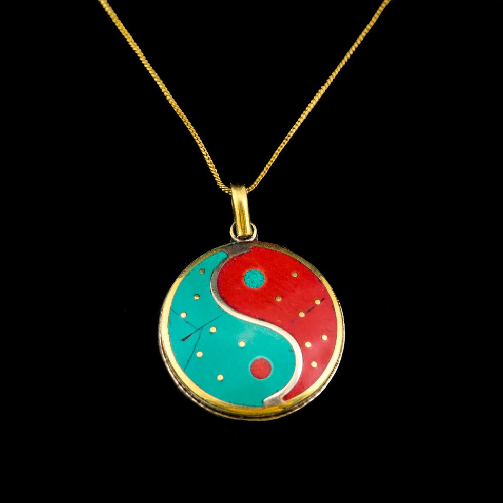 Brass pendant Yin&Yang red and turquoise