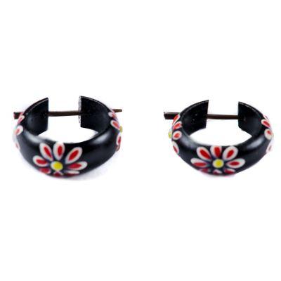 Earrings Flower ring - red Indonesia