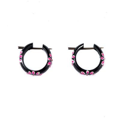 Earrings Flower ring - pink
