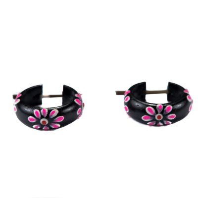 Earrings Flower ring - pink