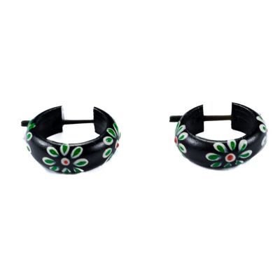 Earrings Flower ring - green