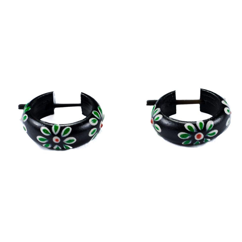 Earrings Flower ring - green