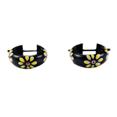 Earrings Flower ring - yellow