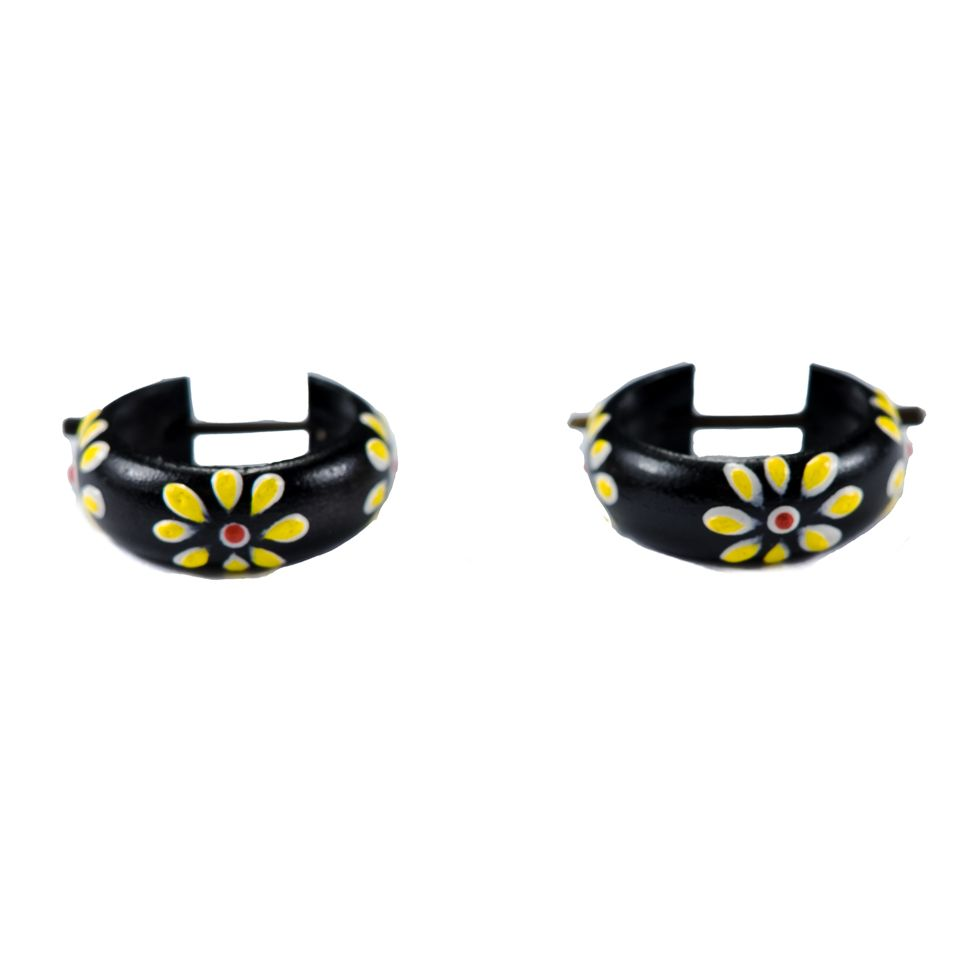 Earrings Flower ring - yellow