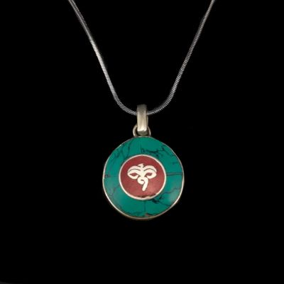 German silver pendant Buddha's eyes - in a circle | separate pendant, with a chain - circumference 45 cm, with a chain - circumference 55 cm