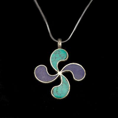 Pendant Flower swastika - blue