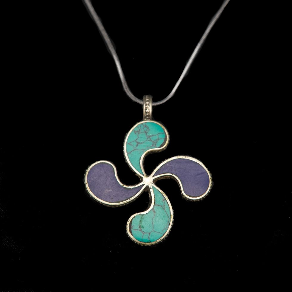 German silver pendant Flower swastika - blue