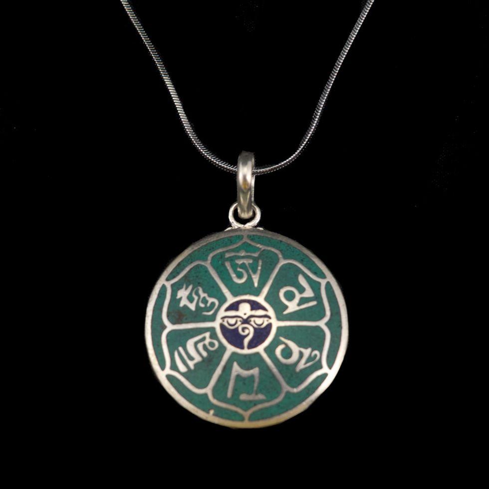 German silver pendant Mantra - Buddha's eyes