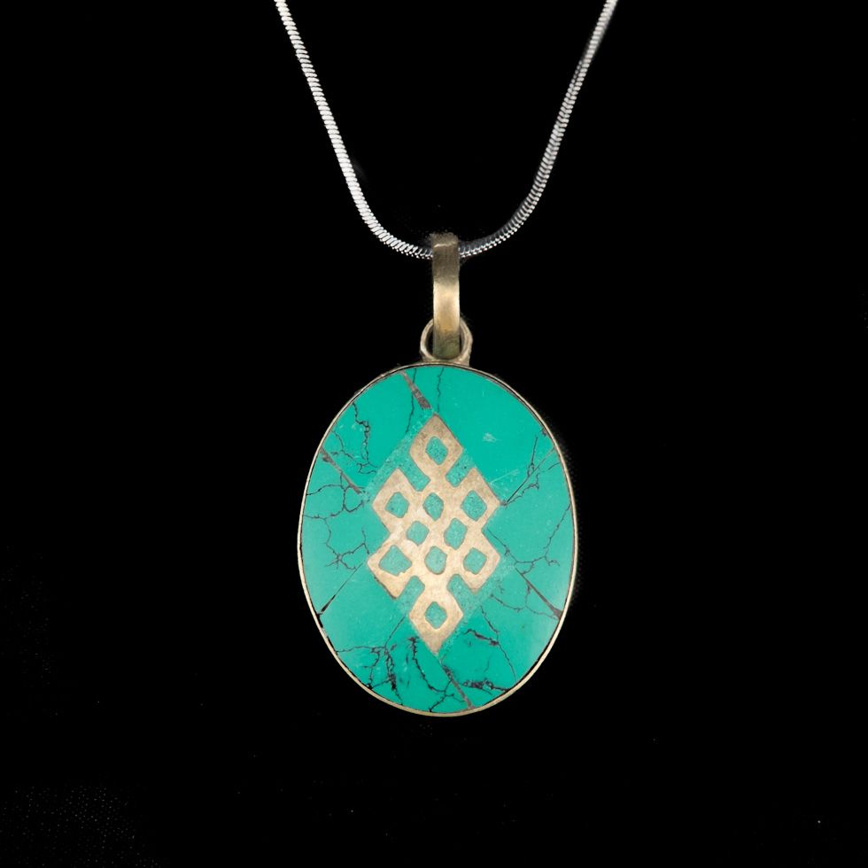 German silver pendant Endless knot - turquoise