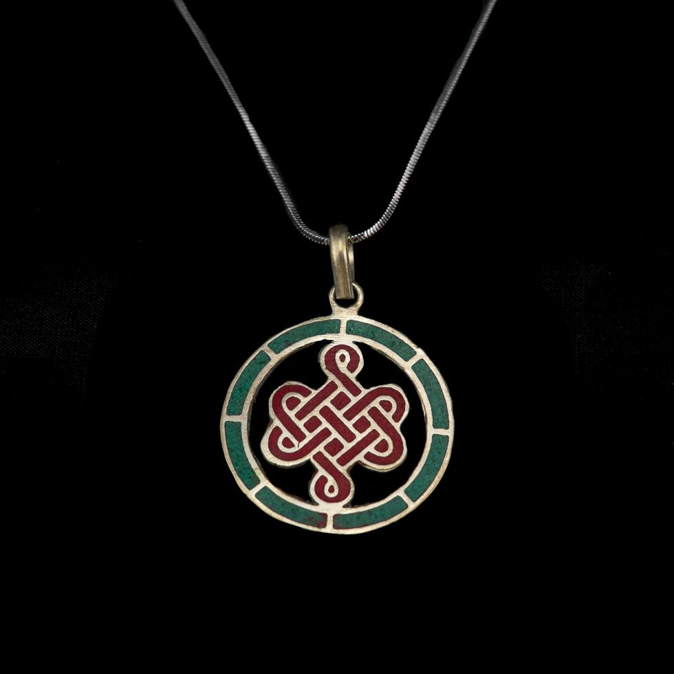 German silver pendant Endless knot in a circle