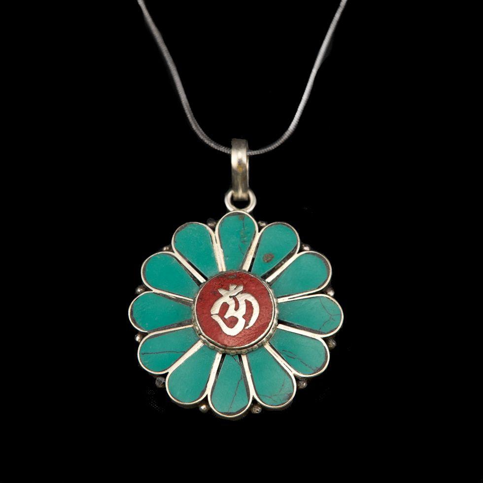 German silver pendant Om - in a flower