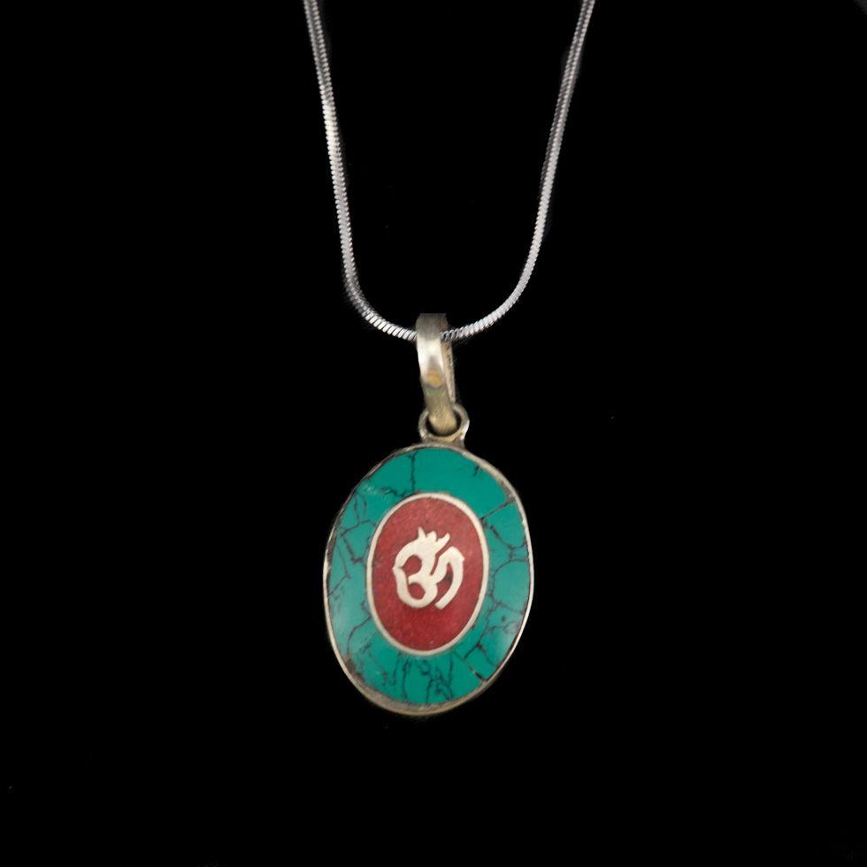 German silver pendant Om in an oval