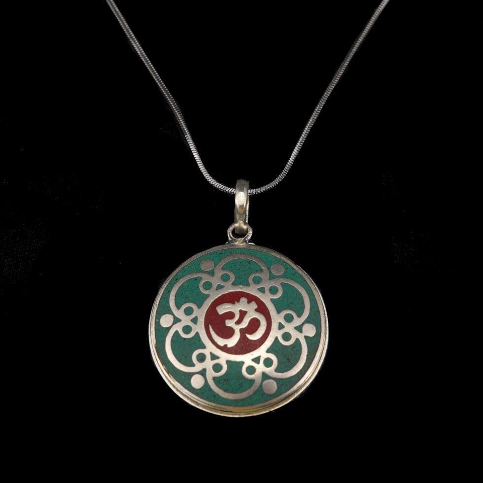 German silver pendant Sacred syllable