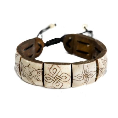 Bracelet Ashtamangala - square, white, bigger
