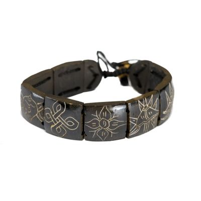 Bracelet Ashtamangala - square, black, bigger