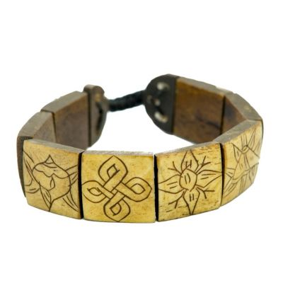 Bracelet Ashtamangala - square, brown