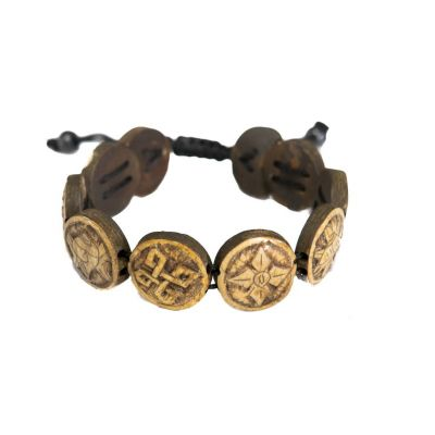 Bracelet Ashtamangala - round, brown, 3D