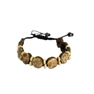 Bracelet Ashtamangala - round, brown, smaller