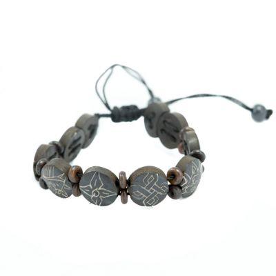 Bracelet Ashtamangala - round, black, smaller