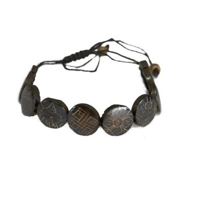 Bracelet Ashtamangala - round, black, larger