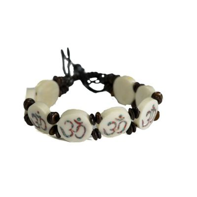 Bracelet Om - white, round
