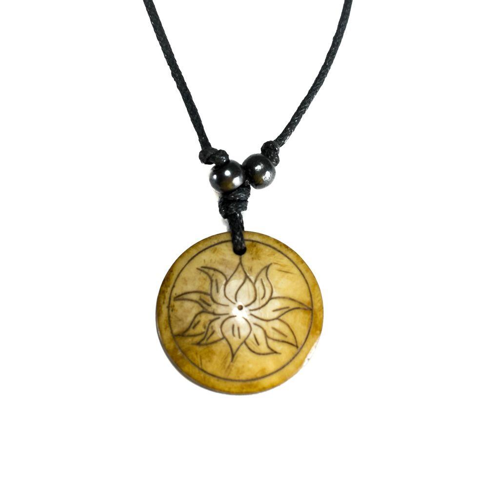 Bone pendant lotus flower in a circle simple izmirmasajfo