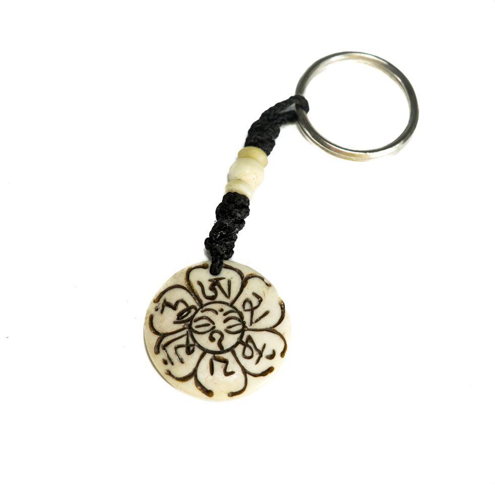Bone key chain White Mantra