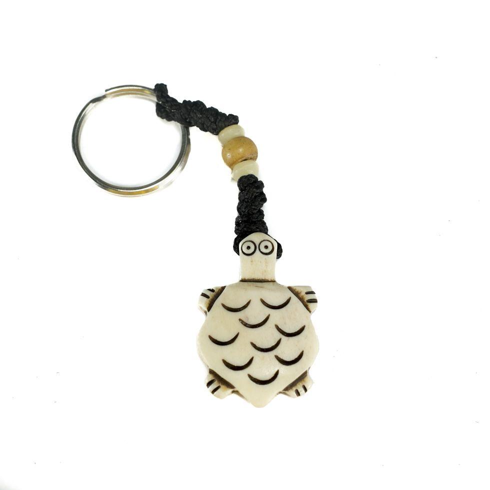 Bone key chain White tortoise