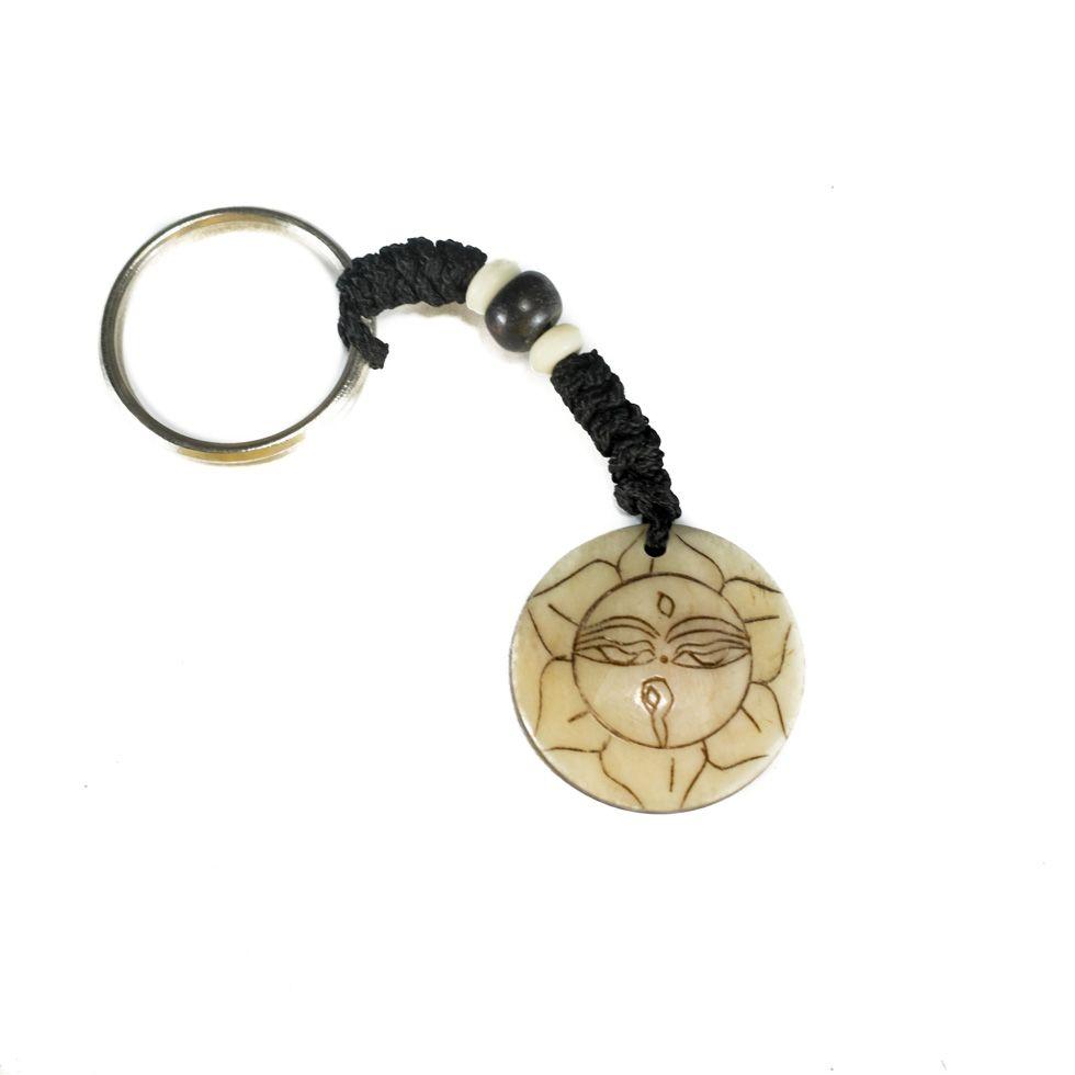 Bone key chain Buddha's eyes in lotus flower