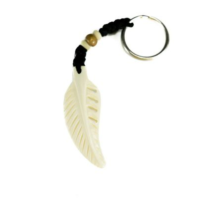 Key chain Bone feather - white