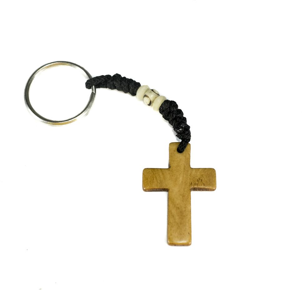 Bone key chain Cross - brown