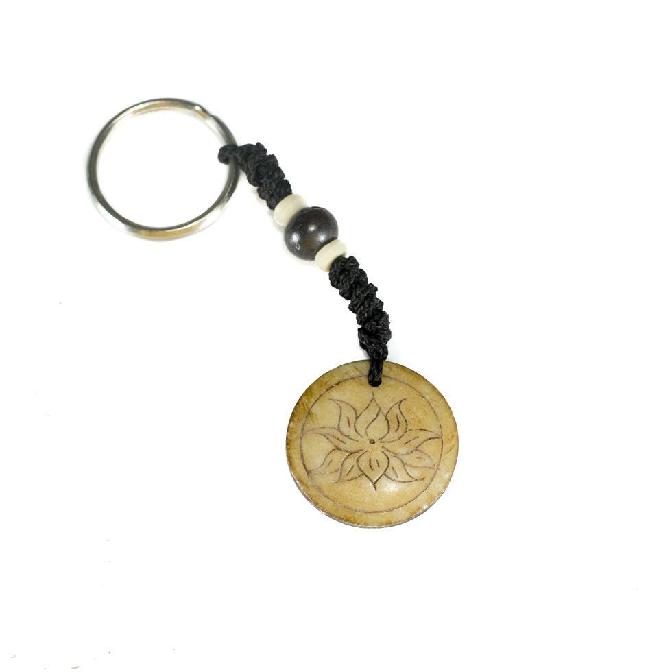 Bone key chain Lotus flower in a circle - simple