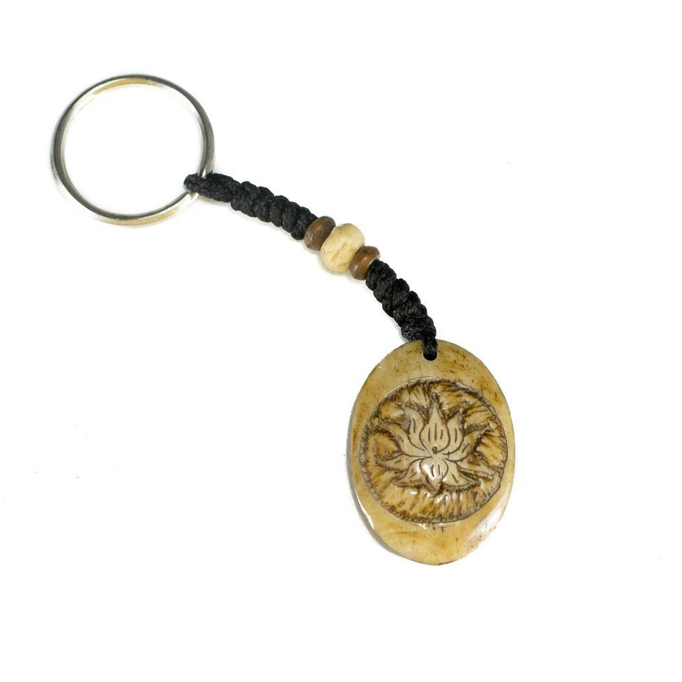 Bone key chain Lotus flower in oval - 3D