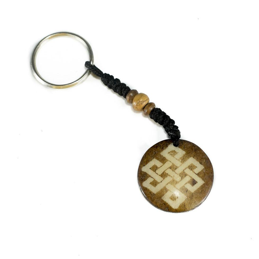 Bone key chain Endless knot - dark