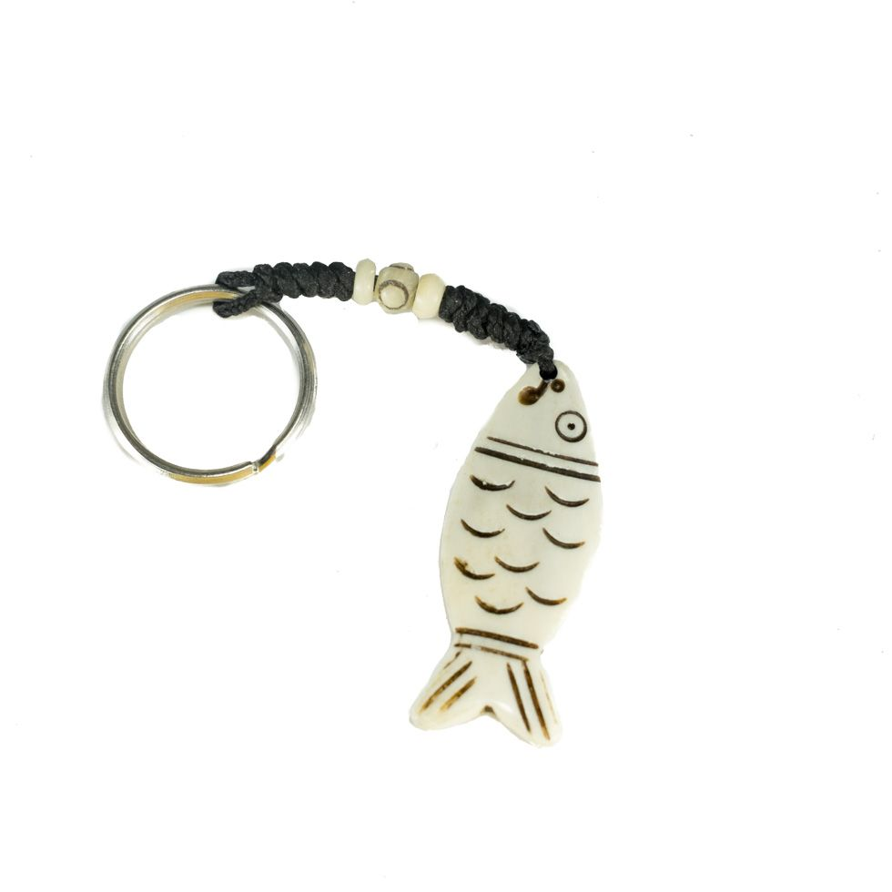 Bone key chain Fish with outline
