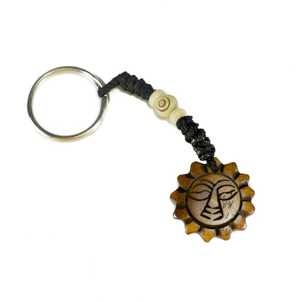 Bone key chain Sun