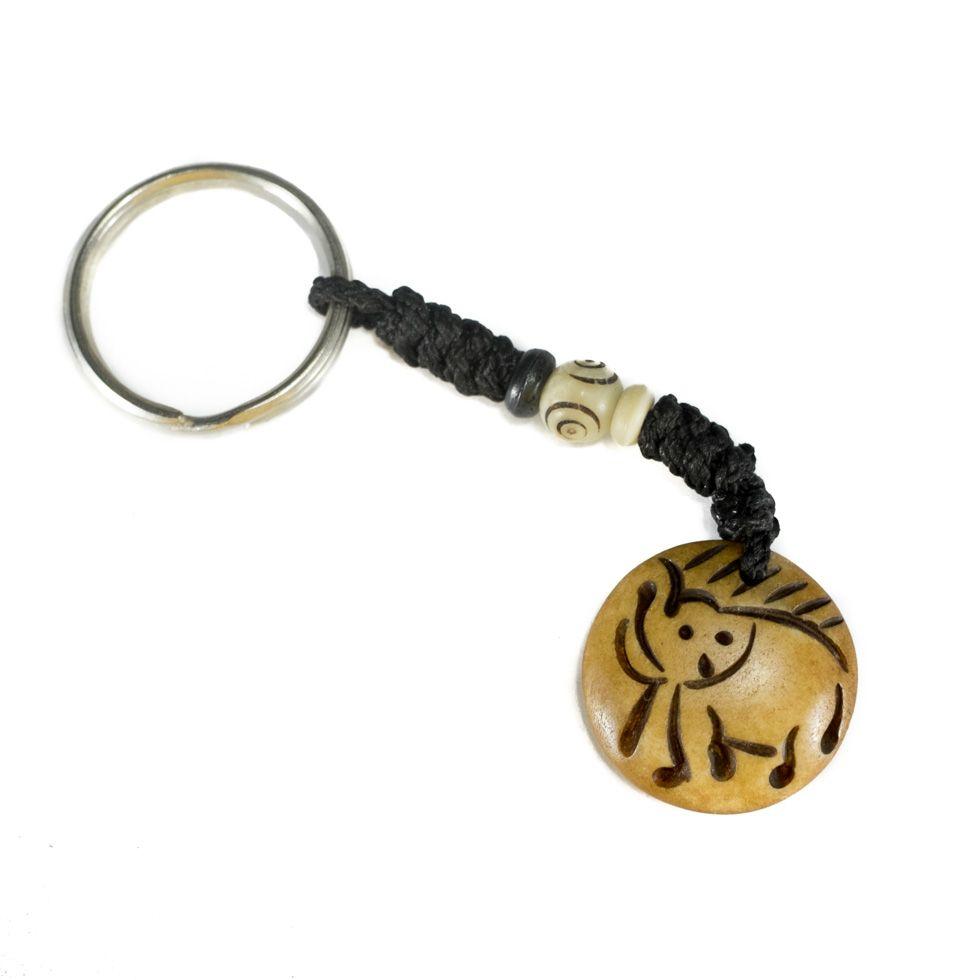 Bone key chain Baby elephant