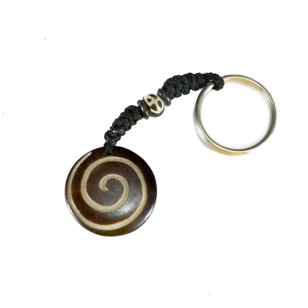 Bone key chain Spiral - black