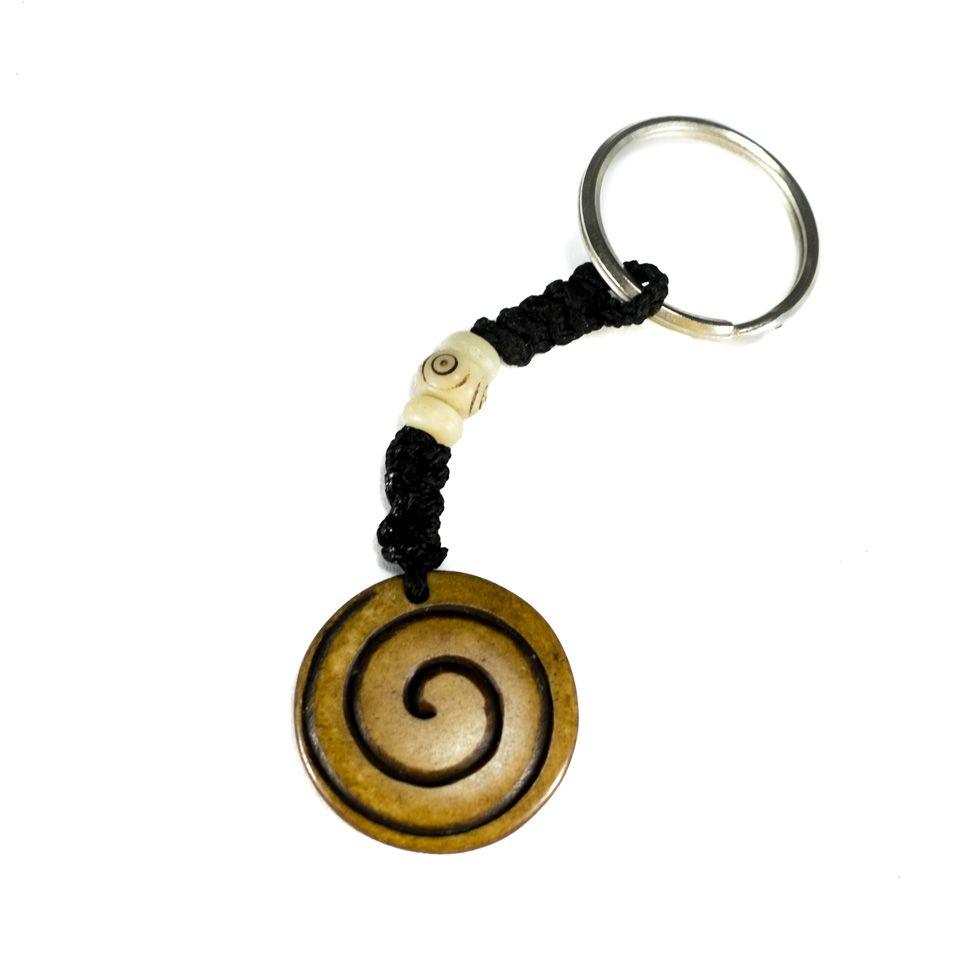 Bone key chain Spiral - brown