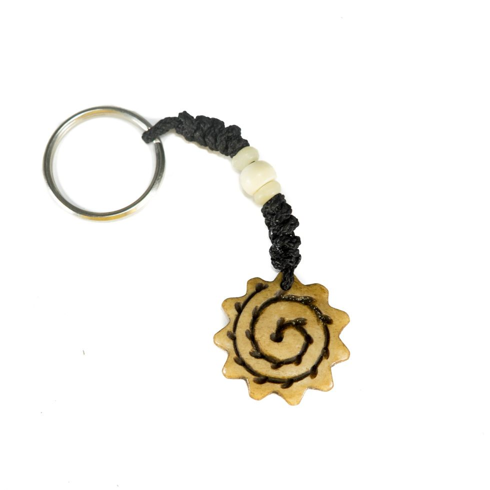 Bone key chain Corrugated spiral