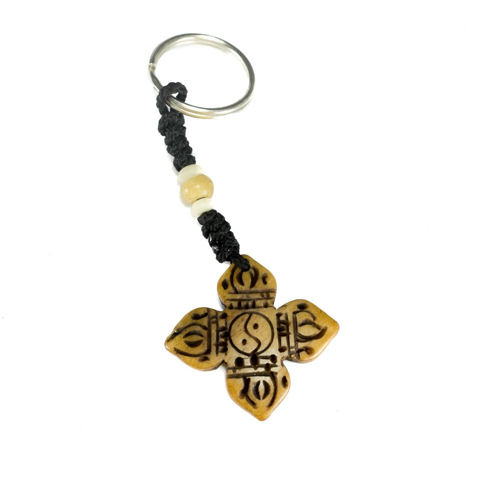 Bone key chain Crossed dordje