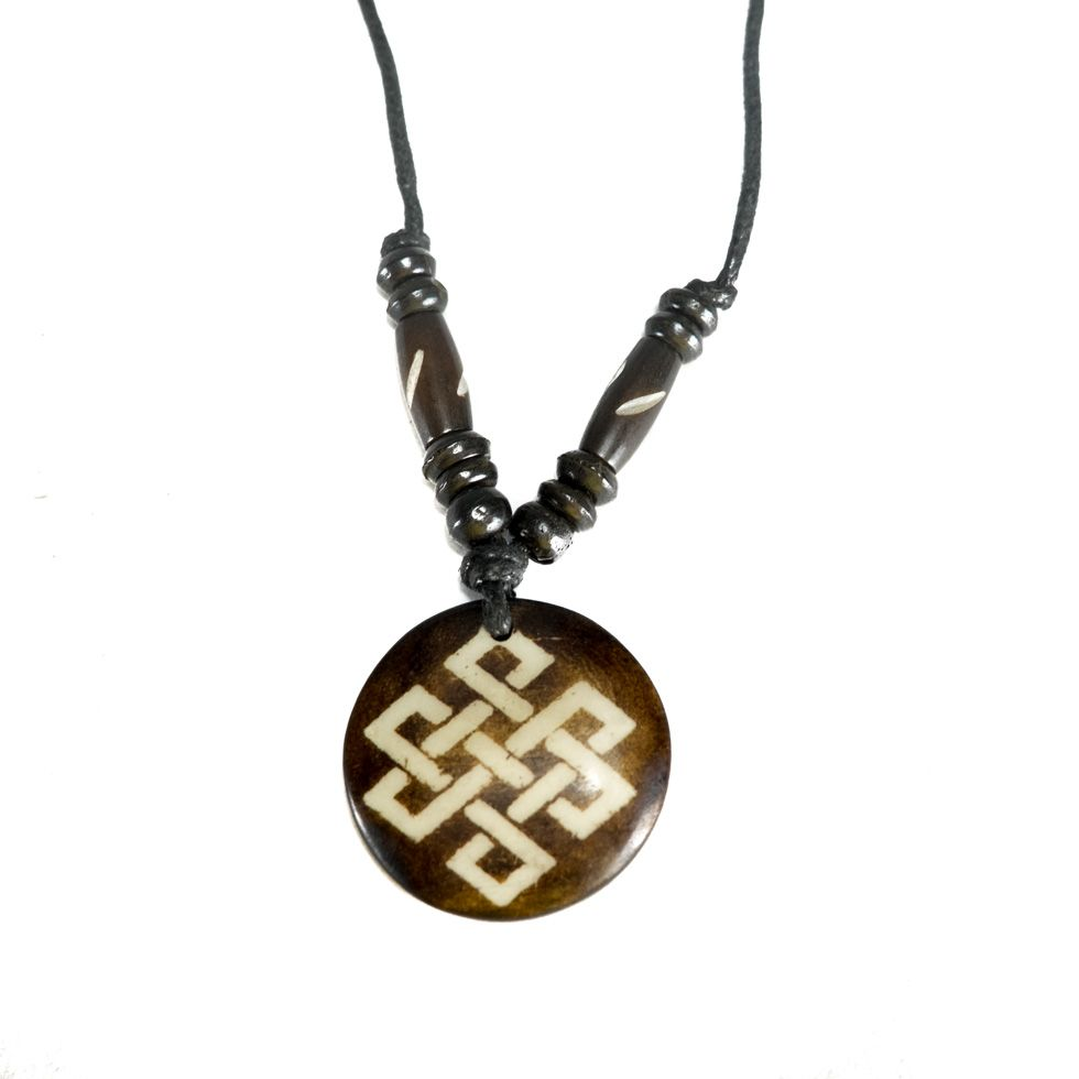 Bone pendant Endless knot - dark