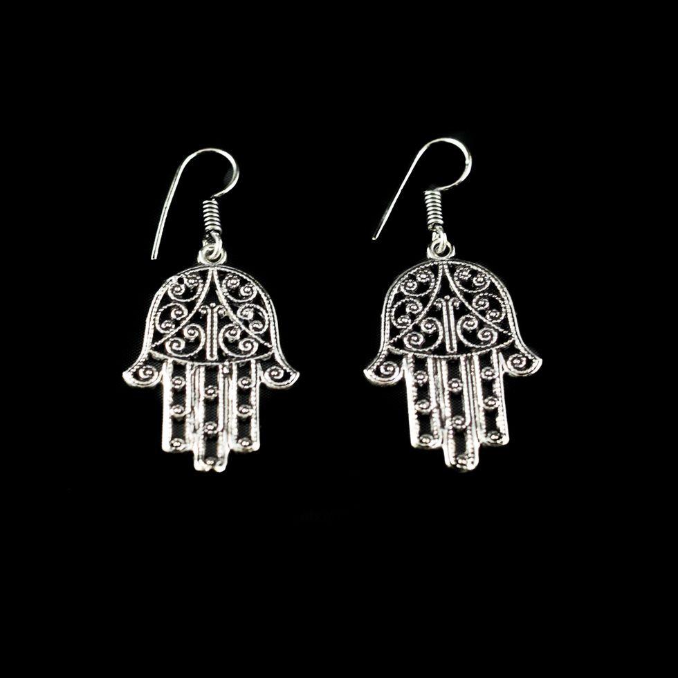 German silver earrings Hamsa India
