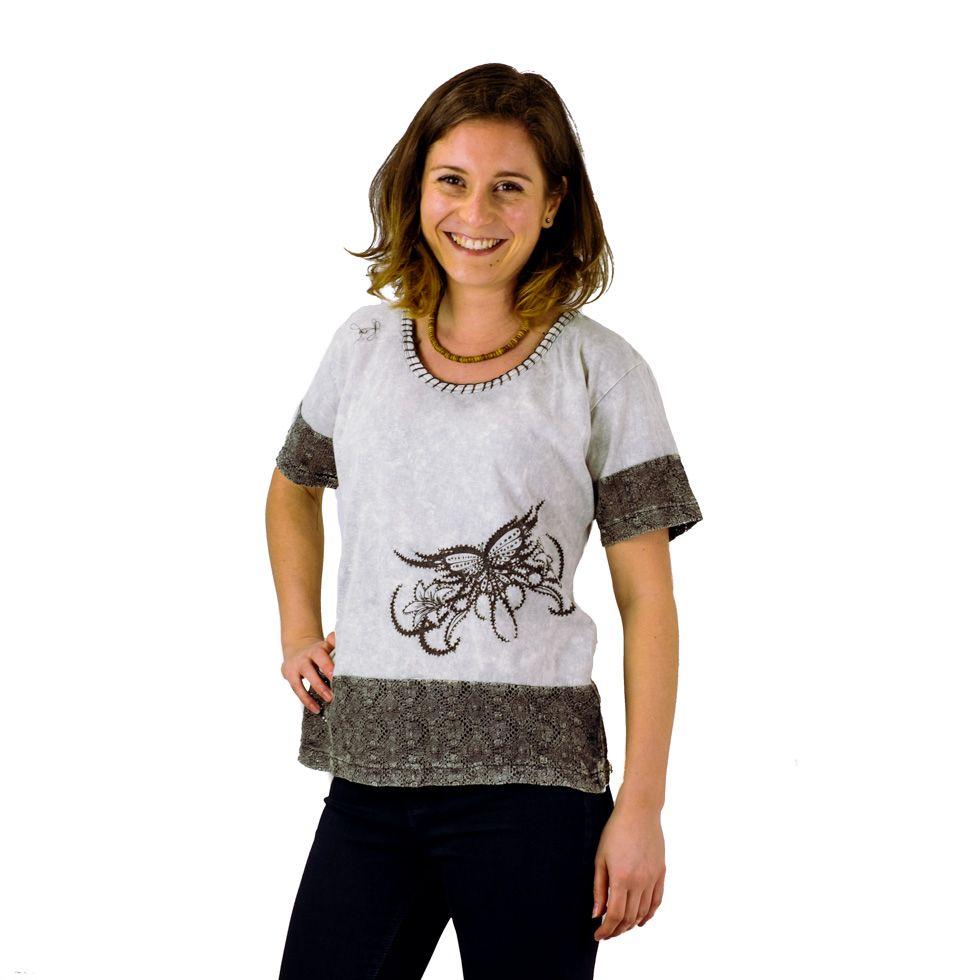 Women's t-shirt with short sleeves Sudha Kelabu