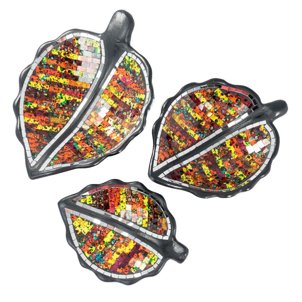 Decorative bowl Berkilau Amber Leaf
