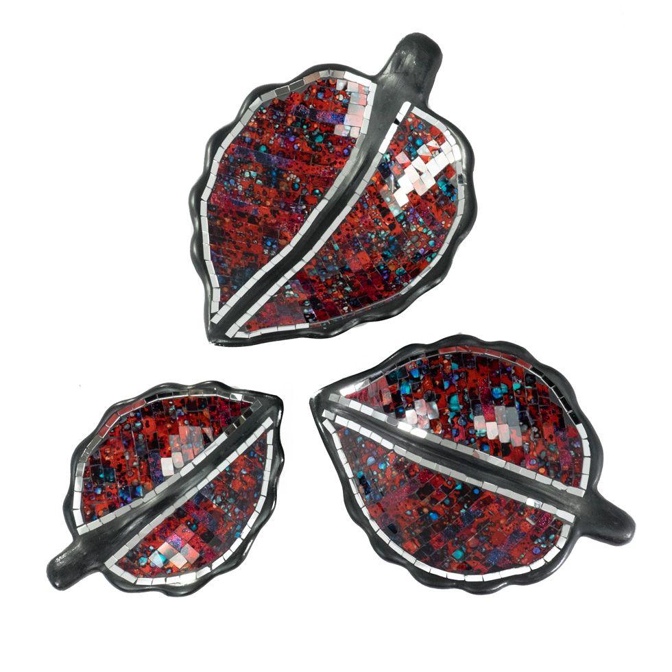 Decorative bowl Berkilau Red Leaf