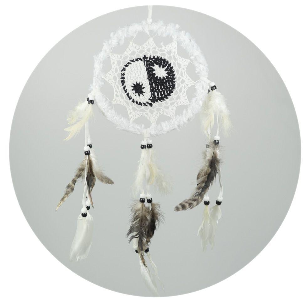 Dream catcher with crocheting Yin&Yang White