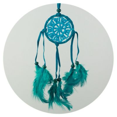 Little dream catcher - turquoise, crocheted